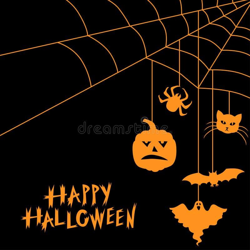 Halloween-symbolen en de kaart van de Webgroet stock illustratie