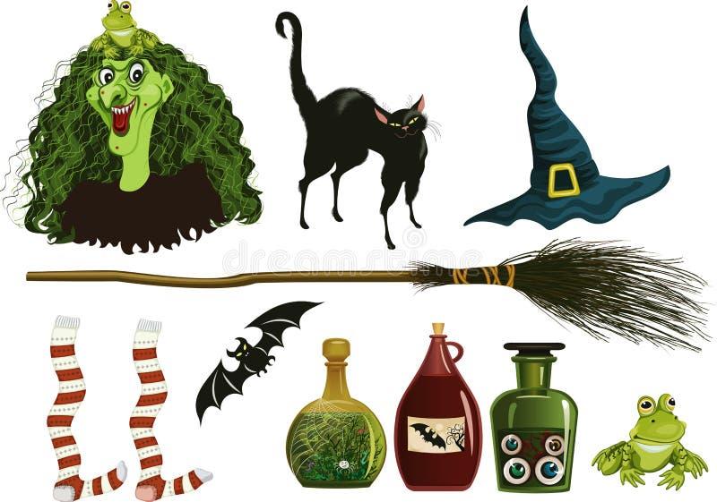 halloween symboler royaltyfri illustrationer