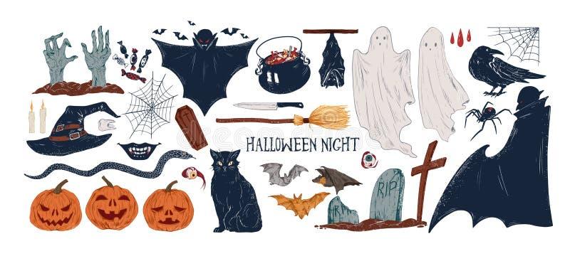 Halloween symbols hand drawn vector illustrations set. Jack lanterns, black cat, spider web and bats. Spooky autumn vector illustration