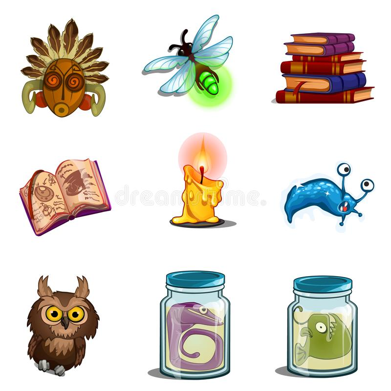 Halloween symbols - owl, mask, insect, book of spells, formalin mutant, candle. Vector icons set isolated on white. Halloween symbols - owl, mask, insect, book stock illustration