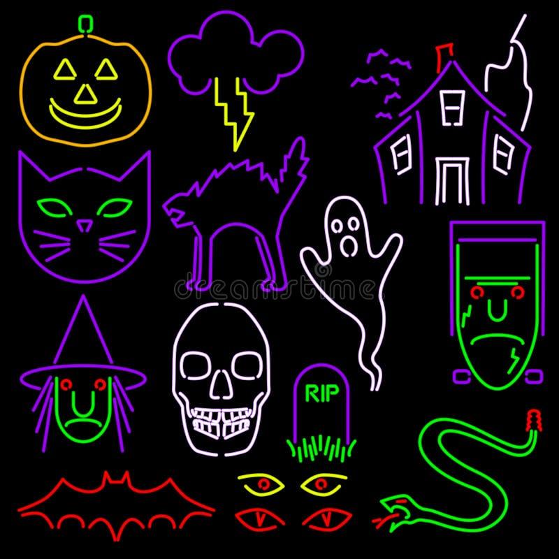 halloween symbolsneon royaltyfri illustrationer