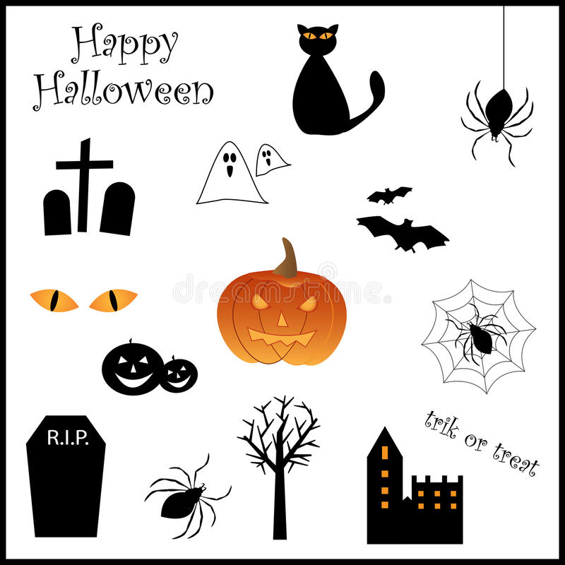 halloween symbolsset royaltyfri illustrationer