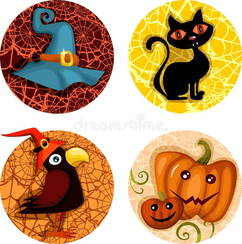 halloween symbolsset vektor illustrationer