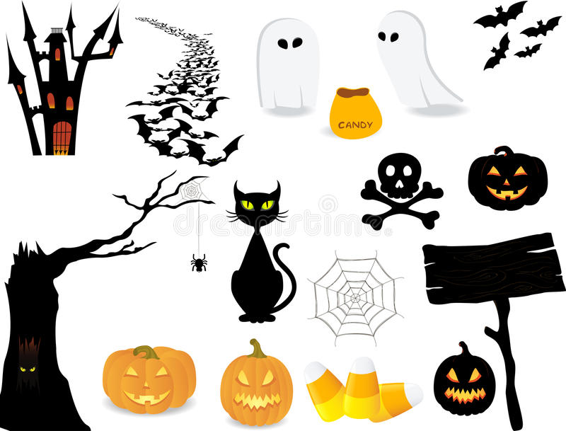 halloween symbolsset stock illustrationer