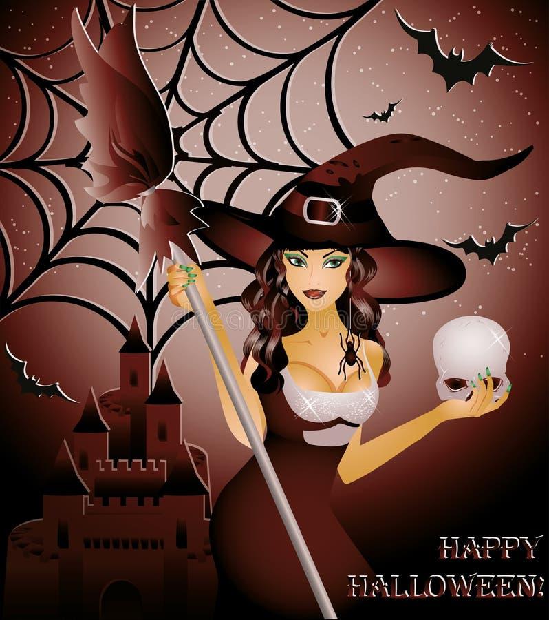 Halloween szczęśliwa karta seksowna czarownica i czaszka, ilustracja wektor