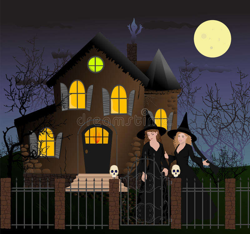 Halloween-Szene mit schönen Hexen lizenzfreie abbildung