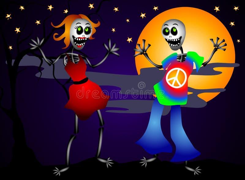 Halloween szkieletów tańczyć ilustracja wektor