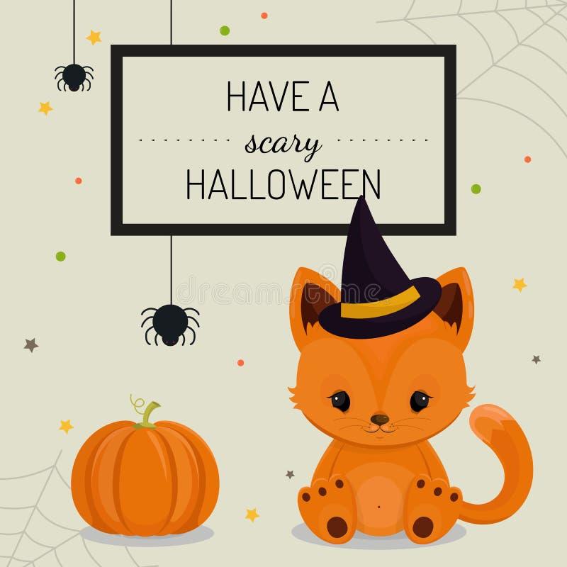 Halloween tło z małym lisem lub karta ilustracji
