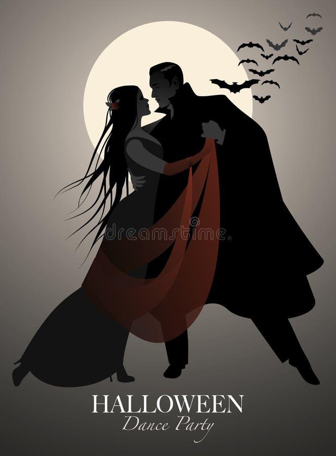 Halloween-Tanzparty Romantisches Vampirspaartanzen lizenzfreie abbildung