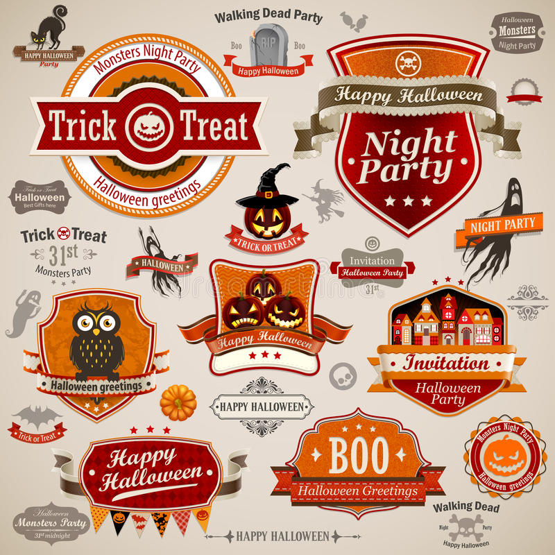 Halloween tappningse stock illustrationer