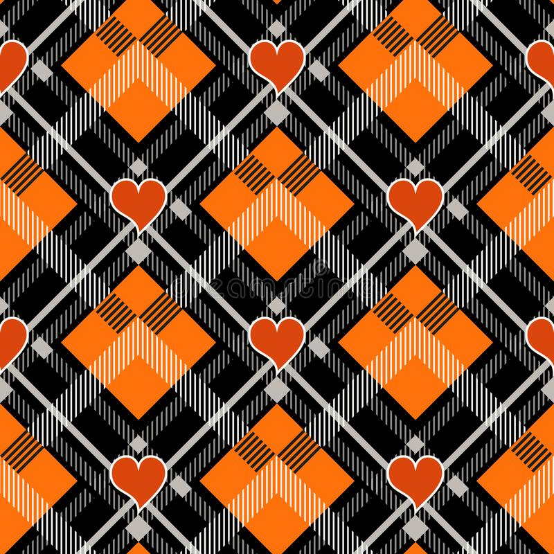Halloween Tartan plaid with heart. Scottish pattern in orange, black and gray cage. Scottish cage. Traditional Scottish checkered vector illustration