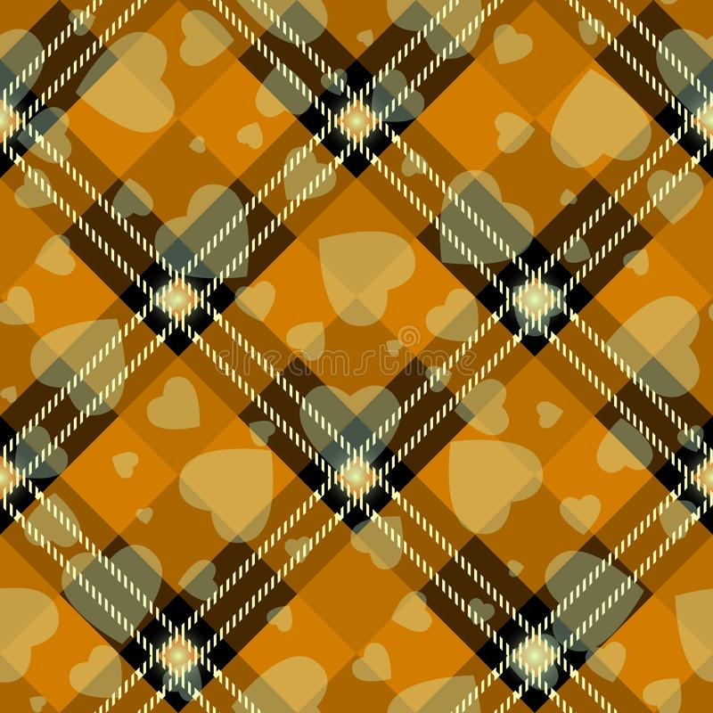 Halloween Tartan plaid with heart. Scottish pattern in orange, black and gray cage. Scottish cage. Traditional Scottish checkered stock illustration