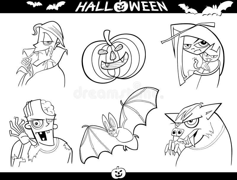 Halloween tecknad filmteman för färgläggning royaltyfri illustrationer