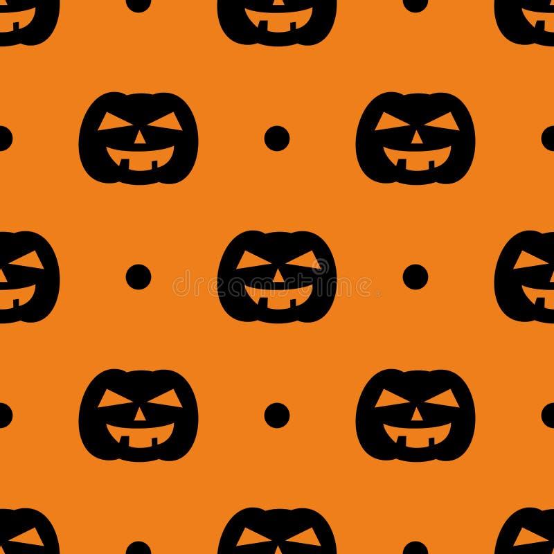 Halloween-tegel vectorpatroon met zwarte pompoen en stippen op oranje achtergrond stock illustratie