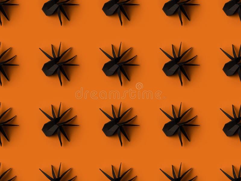 halloween tekstura z czarnymi origami pająkami fotografia stock
