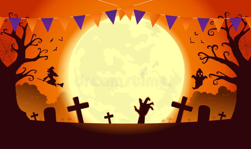 Halloween template background in orange theme with dread tree in graveyard and ghost and witch. stock photography