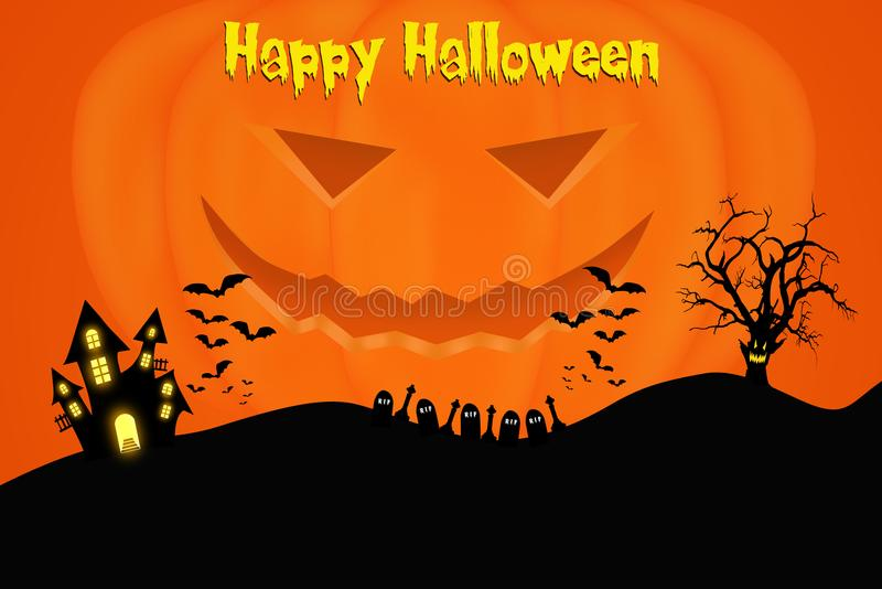 Halloween template design with space for text or message. Traditional Halloween background template design with space for text or message royalty free illustration