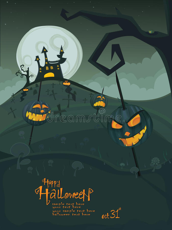 Halloween template with night landscape royalty free stock photos
