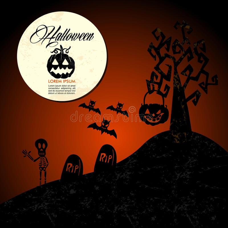 Halloween text: full moon pumpkin spooky cemetery EPS10 file. stock image