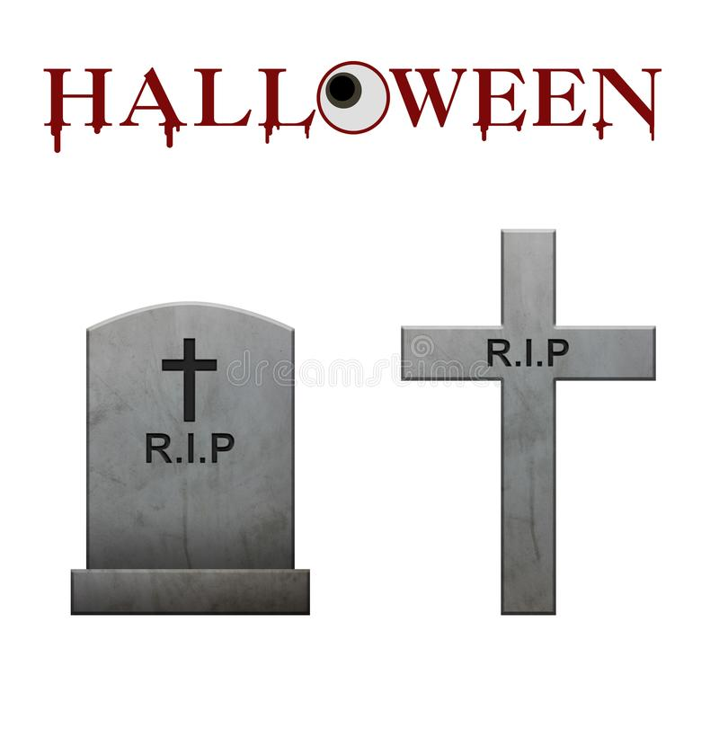 Halloween text and gravestones and paths on white background,blo royalty free illustration