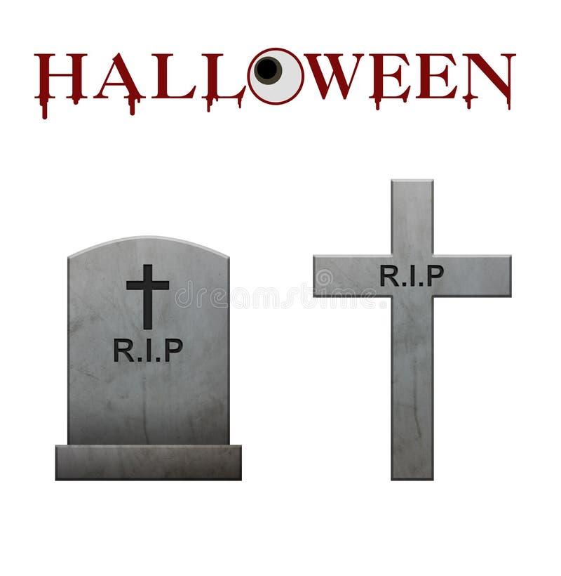 Halloween-Text und Grabsteine und Wege auf weißem Hintergrund, blo lizenzfreie abbildung
