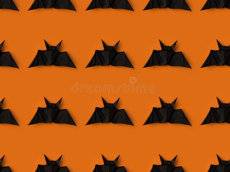 halloween texture with black origami bats royalty free stock photography