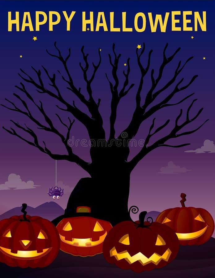 Halloween-thema met boom en pompoenen stock illustratie