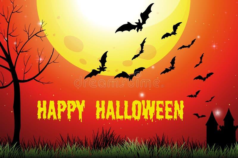 Halloween-thema met fullmoon en knuppels vector illustratie