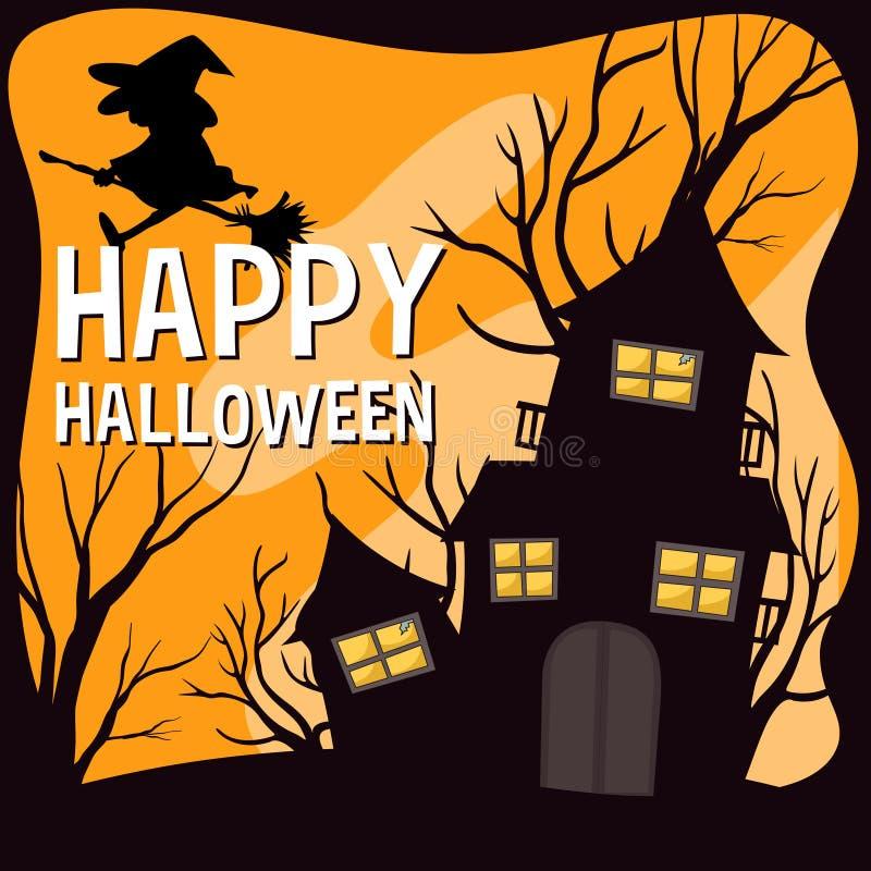 Halloween-thema met heks en spookhuis royalty-vrije illustratie