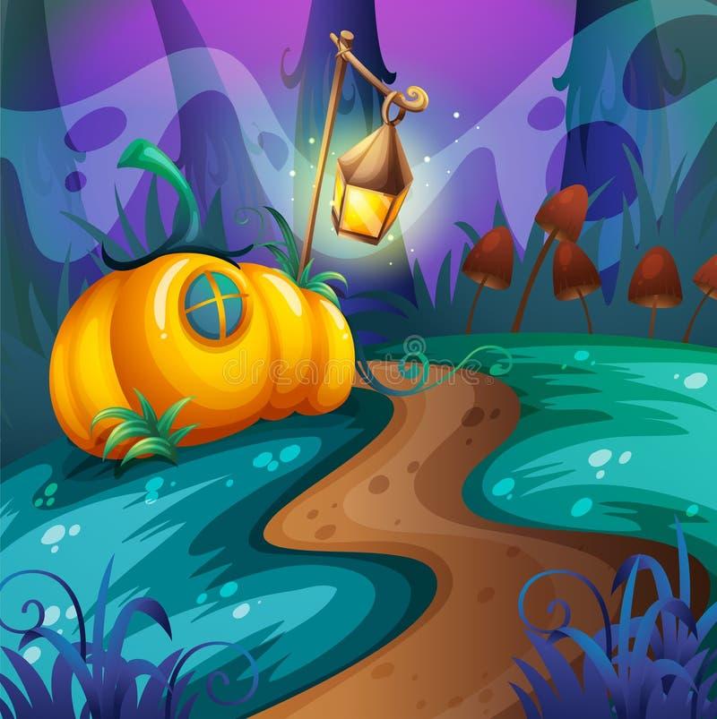 Halloween-thema met pompoen op het gebied stock illustratie