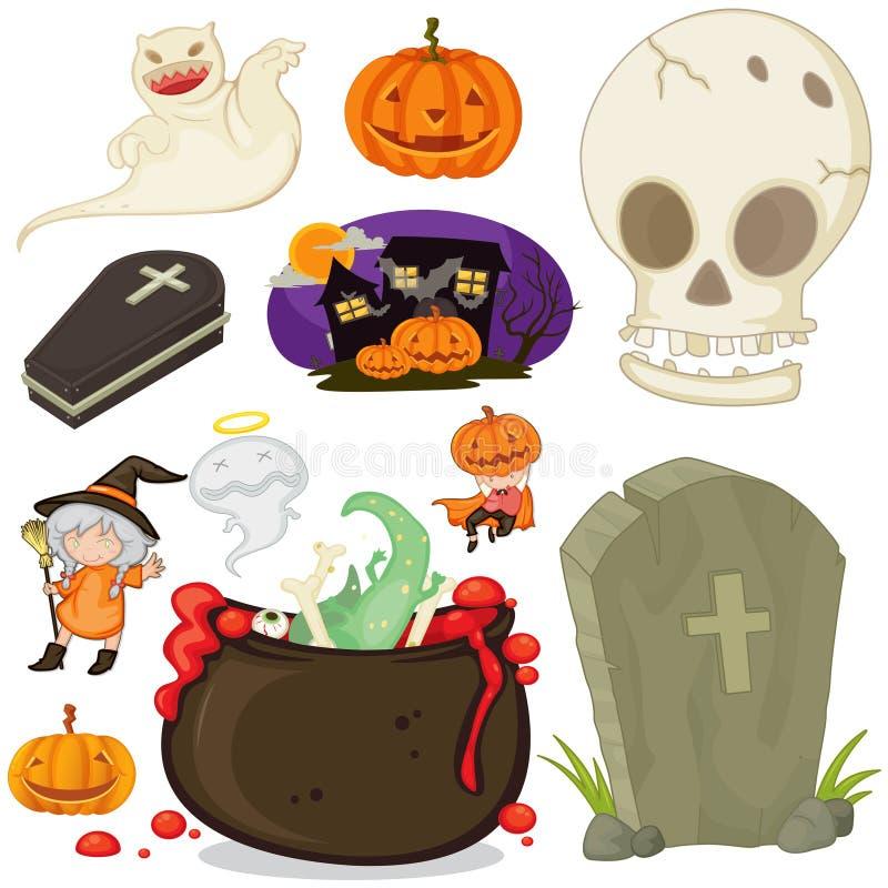Halloween-thema met verschillende voorwerpen vector illustratie