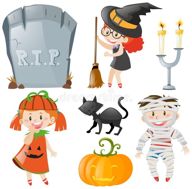 Halloween-Thema mit Kindern in den Kostümen stock abbildung