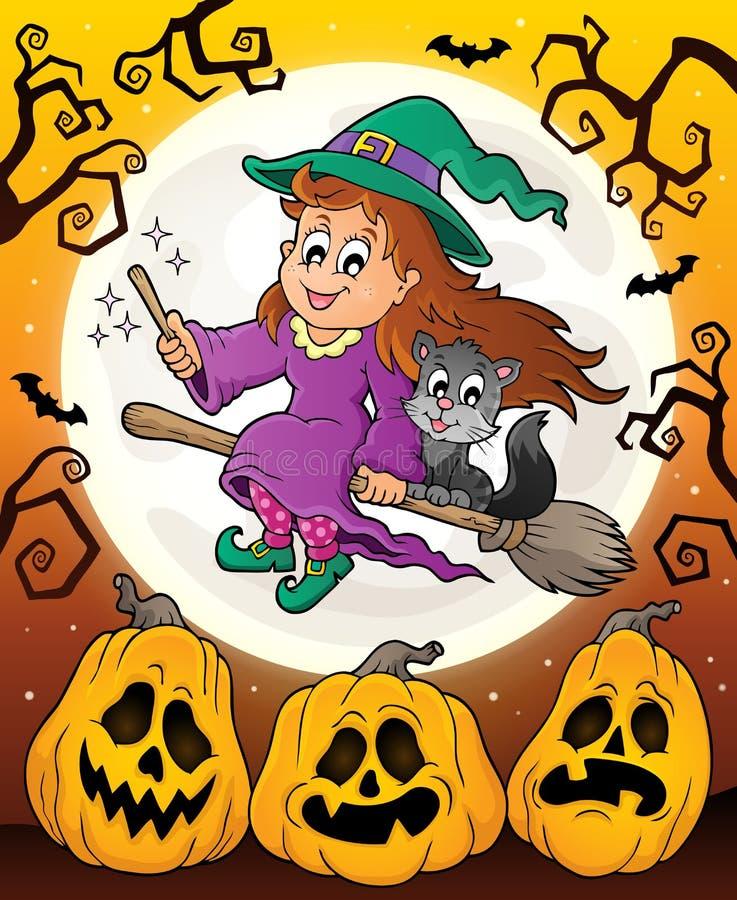 Halloween-Thema mit netter Hexe und Katze vektor abbildung