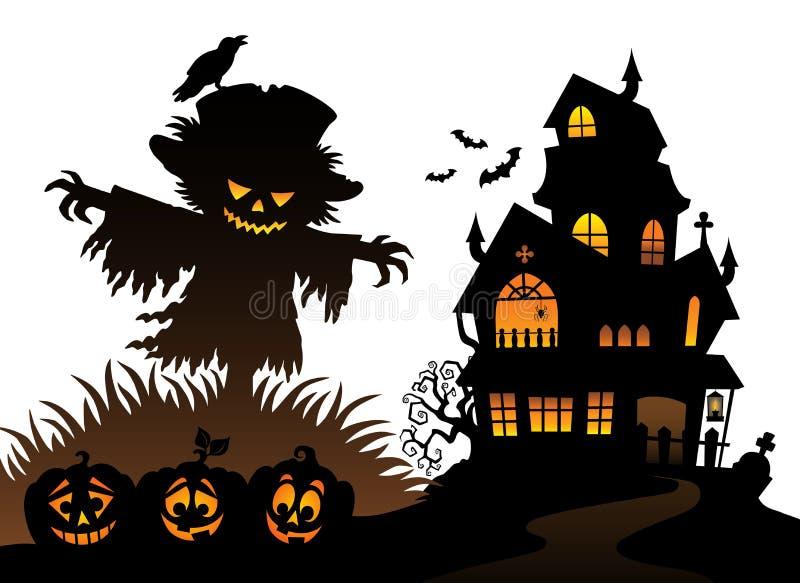 Halloween-thema 3 van het vogelverschrikkersilhouet vector illustratie