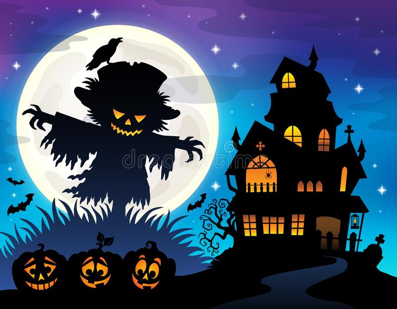 Halloween-thema 1 van het vogelverschrikkersilhouet stock illustratie