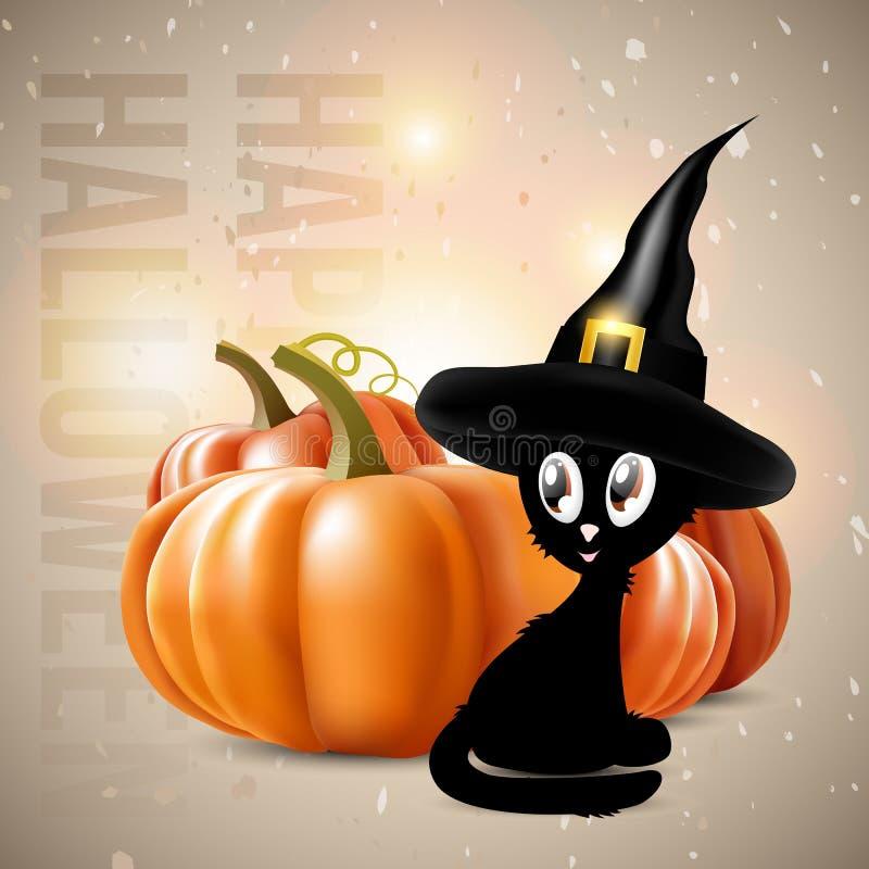 Halloween-thema - zwarte kat met pompoenen stock illustratie
