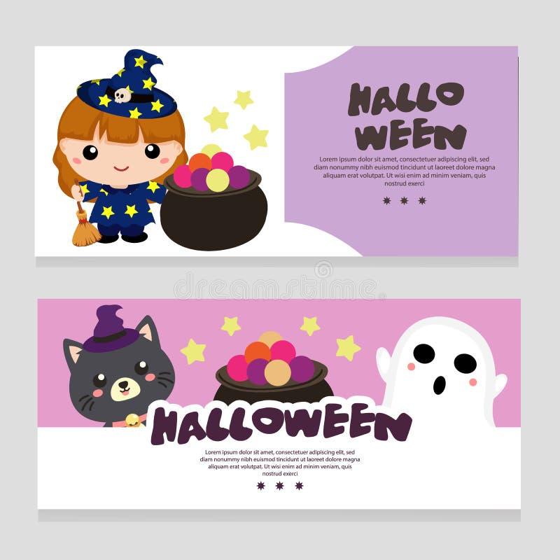Halloween-themabanner met lief beeldverhaalkarakter vector illustratie