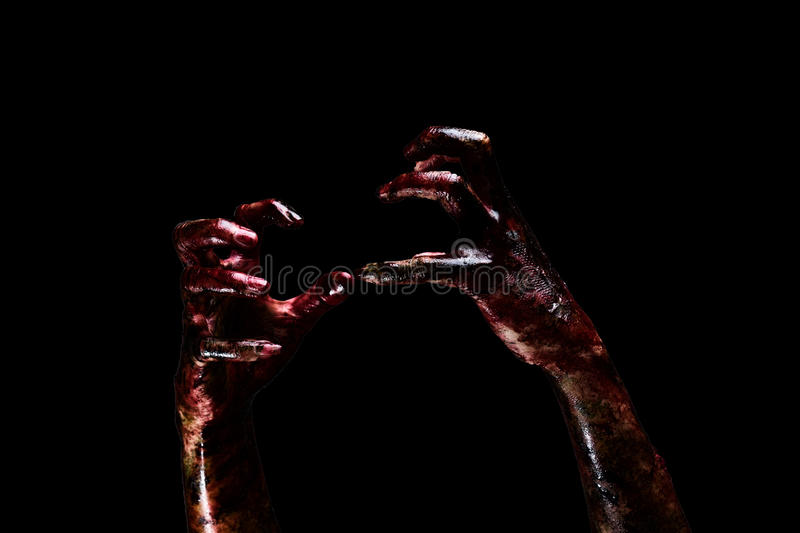 Halloween theme:Bloody hands royalty free stock photo