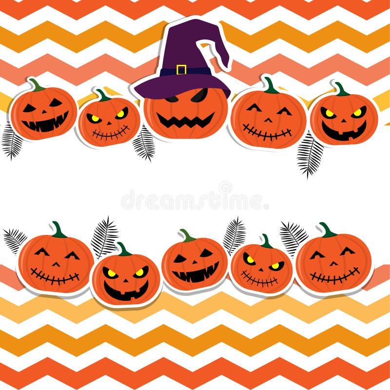 Halloween Theme of cheerful pumpkins on background. stock illustration