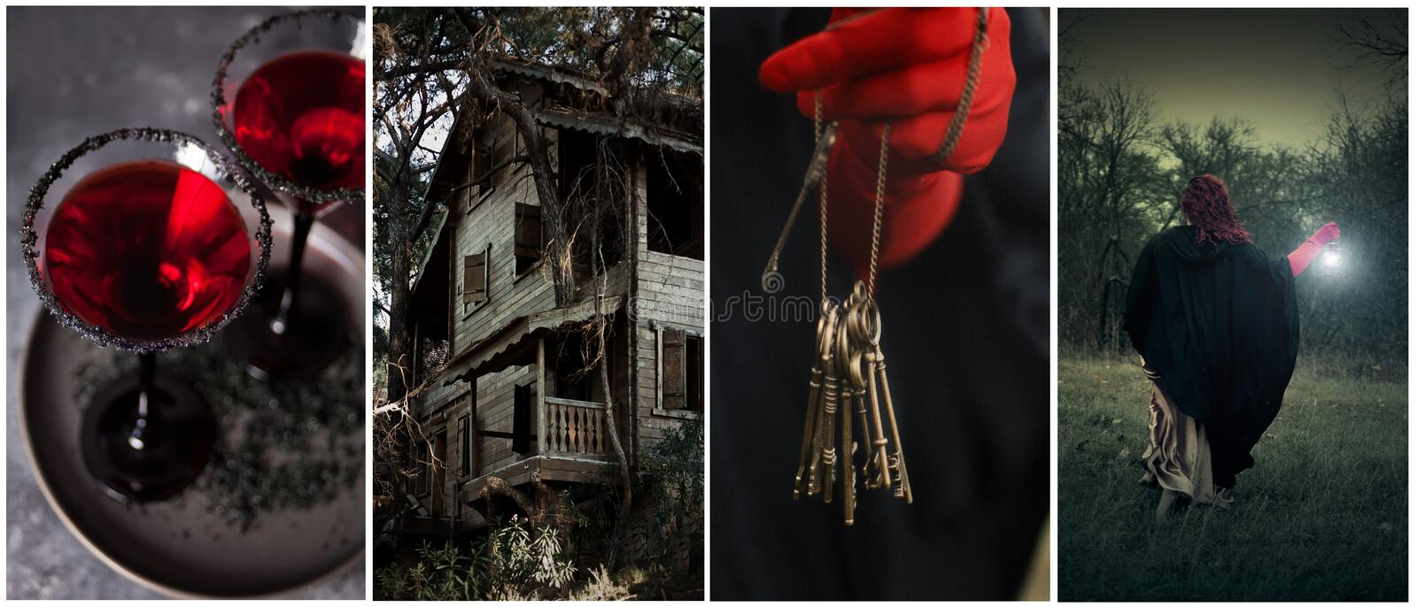 Halloween theme collage of four photos. bloody red cocktail, scary witch house, witch, vintage keys in woman`s hands stock images