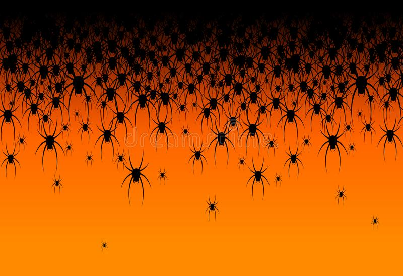 Halloween theme Many black spiders on an orange background Header Creative design of web site banner poster template card stock illustration