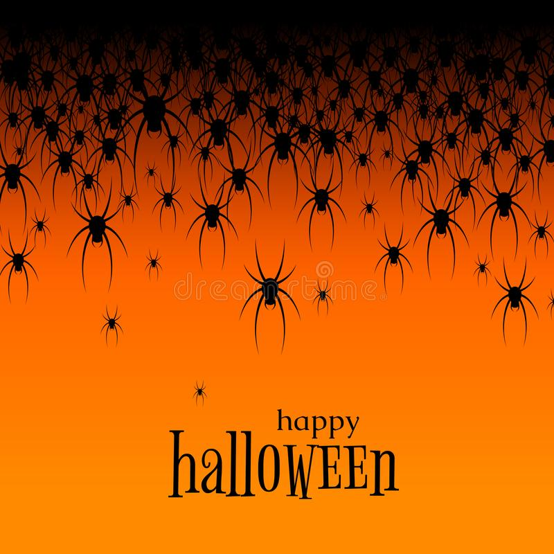 Halloween theme Many black spiders on an orange background Text Happy Halloween Creative design web site banner poster template. Halloween theme. Many black stock illustration