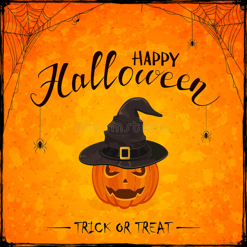 Halloween theme with pumpkin in witch hat on orange background royalty free illustration