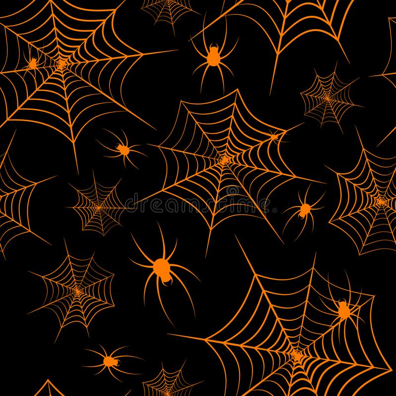 Halloween theme Spiderweb and spiders on a black background Seamless pattern Creative design background of web sites wallpapers royalty free illustration