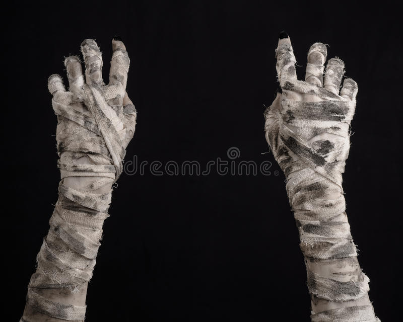 Halloween theme: terrible old mummy hands on a black background. Studio stock photography
