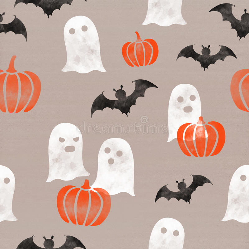 download halloween themed pumpkins ghosts bats seamless pattern on cardboard paper background - Halloween Themed Pictures