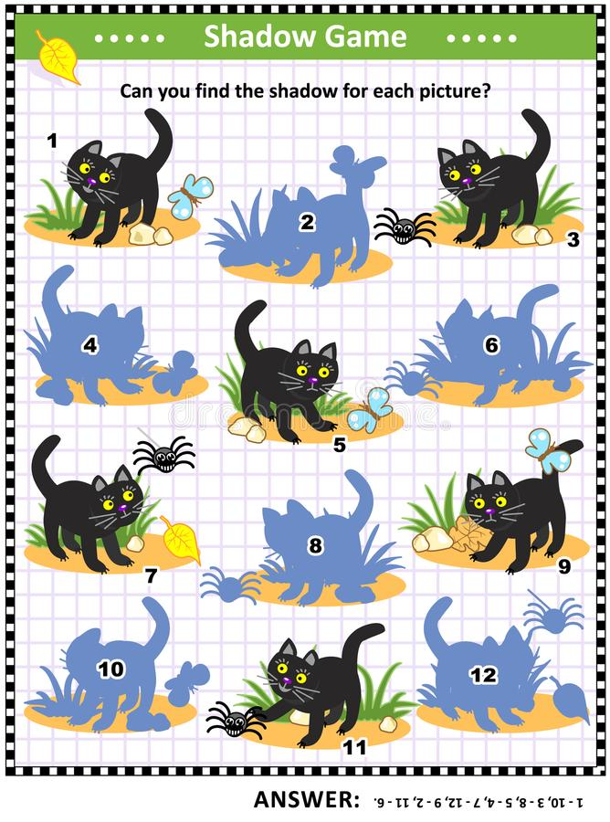 Halloween shadow game with black cat stock illustration
