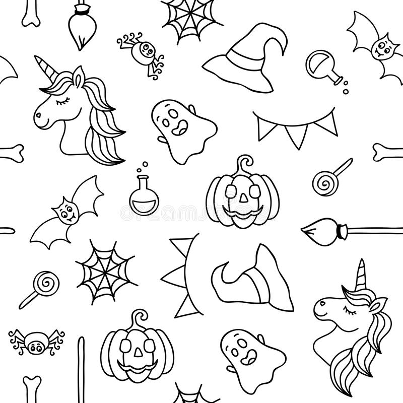 Halloween Things And Unicorn Black Outline Seamless Pattern Stock ...