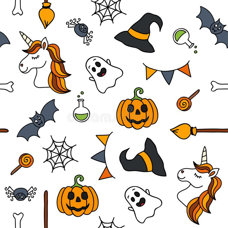 Halloween Things Unicorn Cute Doodle Seamless Pattern Stock Vector ...