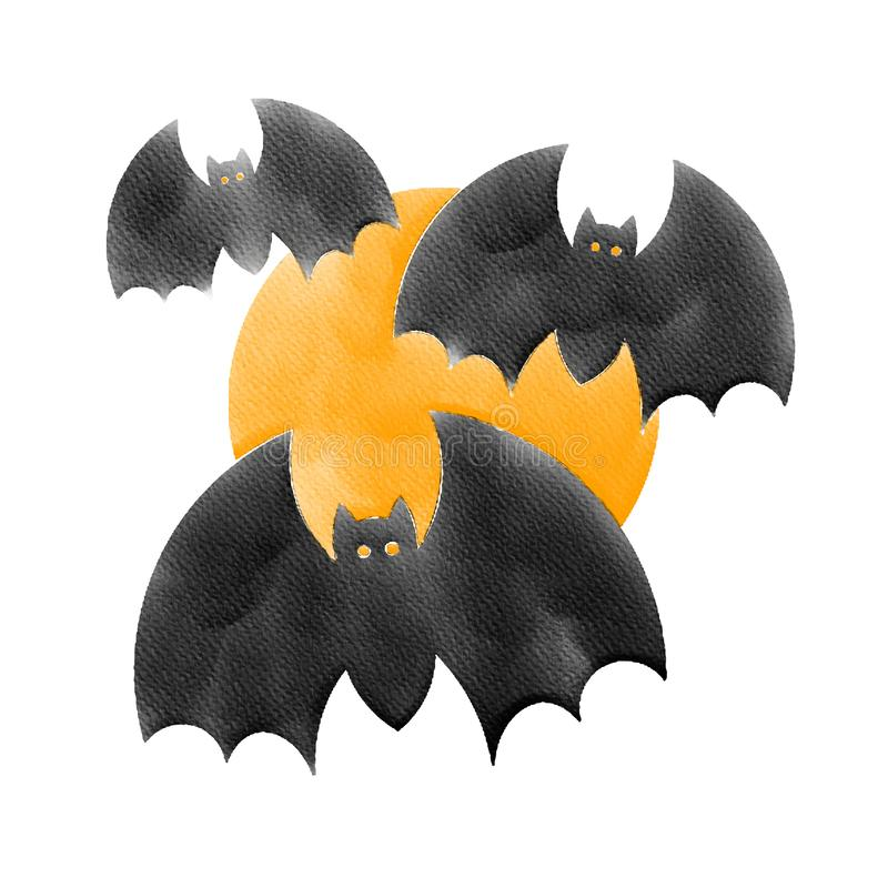 Halloween three black bat and orange moon,water color painting picture stock photos